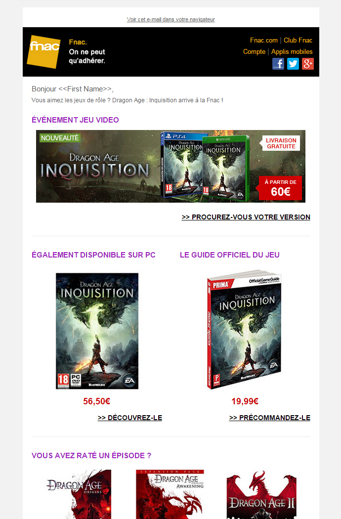 Newsletter Fnac
