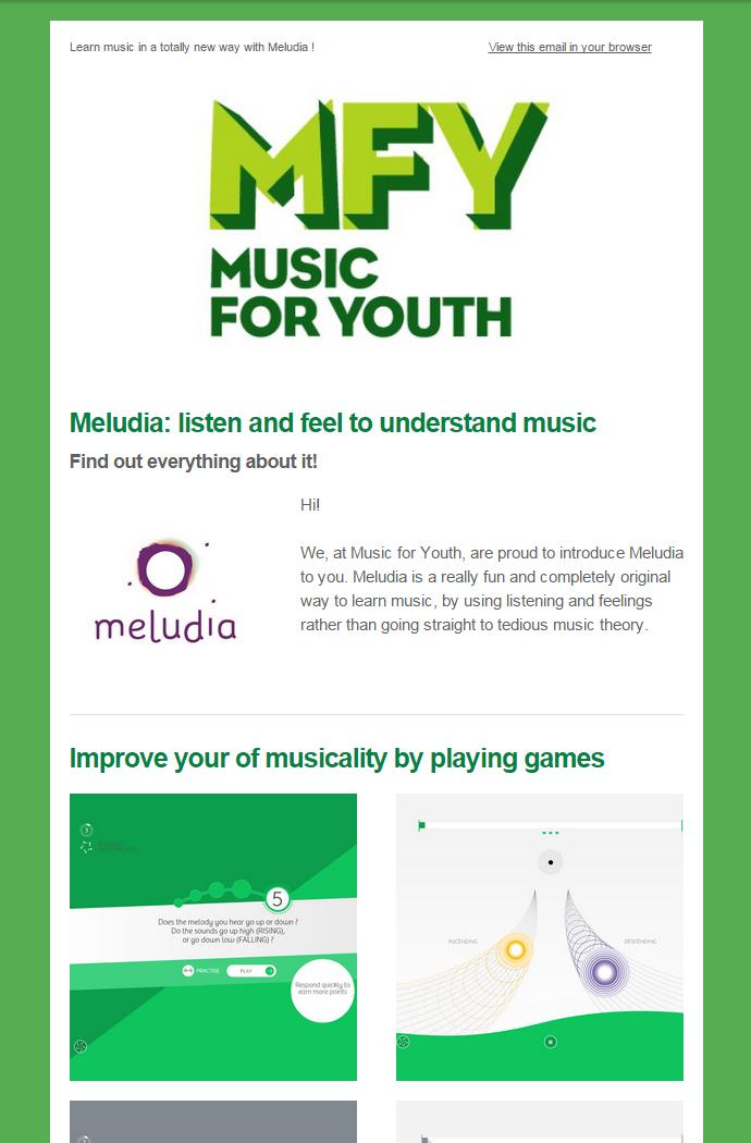 Meludia/Music For Youth newsletter