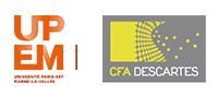 Logo of CFA Descartes in Champs sur Marne and of the Université Paris-Est Marne-la-Vallée
