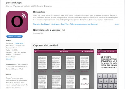 Screenshot of Over2You's Apple App Store product page.