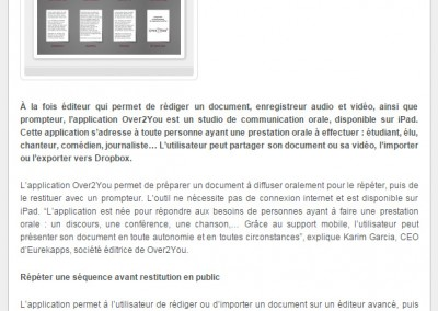 Screenshot of Over2You's press release.