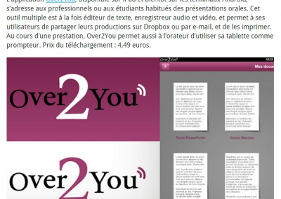 Screenshot of an article by Frenchweb mentioning Over2You.