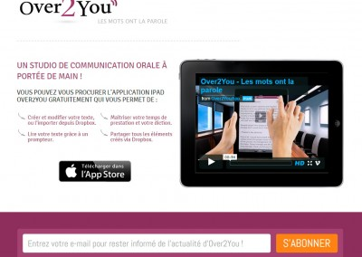 Screenshot of Over2You's website.