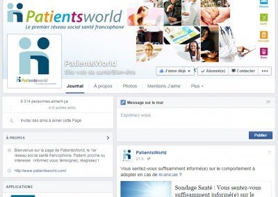 PatientsWorld's Facebook page