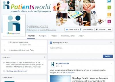 PatientsWorld's Facebook page