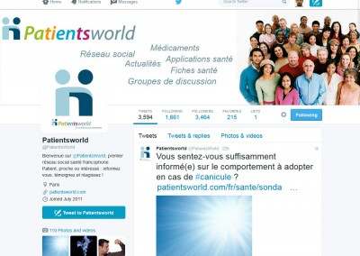 PatientsWorld's Twitter account