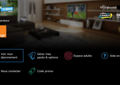 Homescreen of the suscriber's TV application