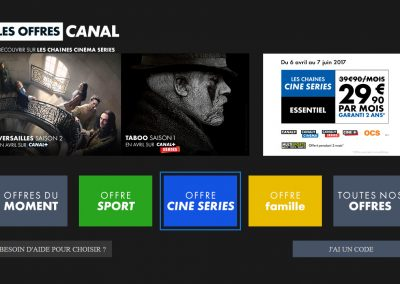 Homescreen of the prospect's TV application